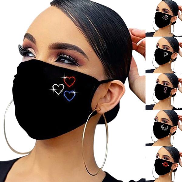 Fashion, blackmask, faceshield, rhinestonefacemask