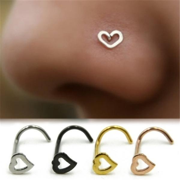 Sterling, Heart, Jewelry, noseringsstud