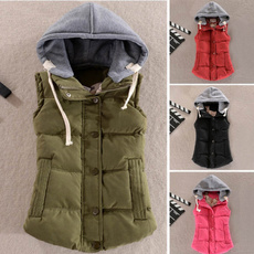 Women Vest, Vest, hooded, Outerwear