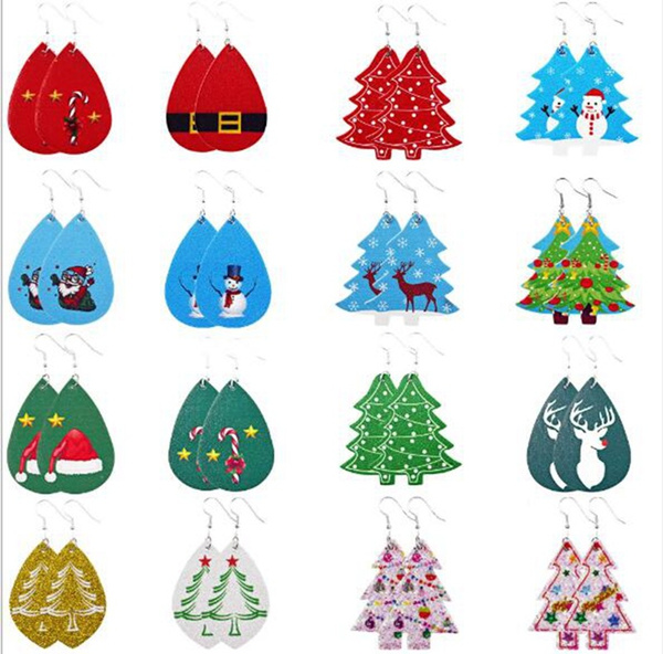 Christmas Tree Leather Earrings