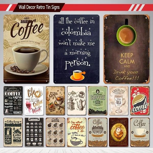 Coffee, Restaurant, metalpainting, Vintage