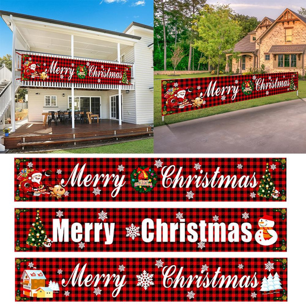 Oxford Cloth Outdoor Banner Merry Christmas Decor For Home ...