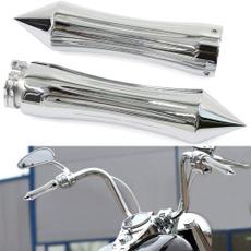 motorcycleaccessorie, handgrip, motorcycleredflameskullhandgrip, chromehandlebarhandgrip