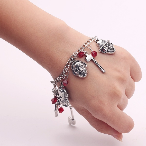 halloweenanklebracelet, Charm Bracelet, hockeybracelet, Movie