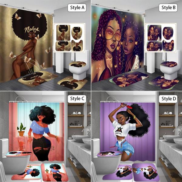 africanamericanbathroomrug, Home Decor, Waterproof, showercurtainset