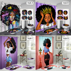 africanshowercurtain, Women, Polyester, bathroomdecor