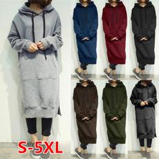 women casual dress, Fleece, Plus Size, Hoodies