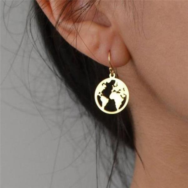 Map, Jewelry, worldmap, Stud Earring