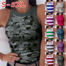 Women Vest, Vest, Moda, camouflage tank tops