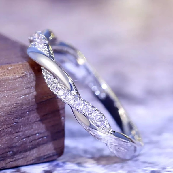 Sterling, crystal ring, Infinity, wedding ring