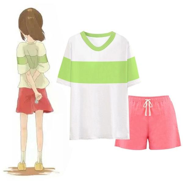 Anime Spirited Away Cosplay Chihiro Ogino Costume Casual Set T Shirt Shorts Halloween Party Suit Cosplay Costume Wish