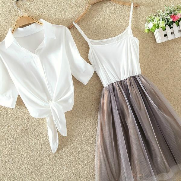 Fashion Skirts, white shirt, Shirt, cardigan