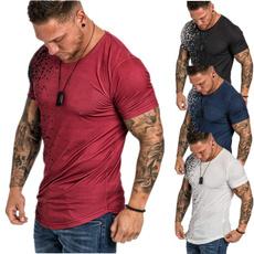 Mens T Shirt, Printed T Shirts, Summer, Round Collar