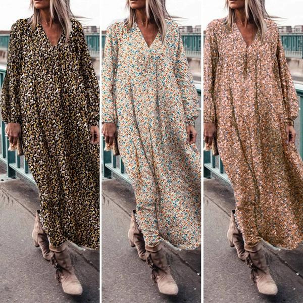 dressesforwomen, Floral print, long dresses, Sleeve
