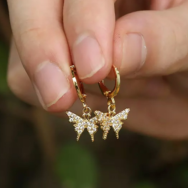 butterfly, DIAMOND, dangleearing, gold