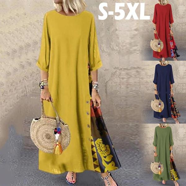 Summer, dressesforwomen, print dress, Long Sleeve