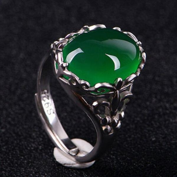 copperring, Jewelry, gemsinlaid, Adjustable