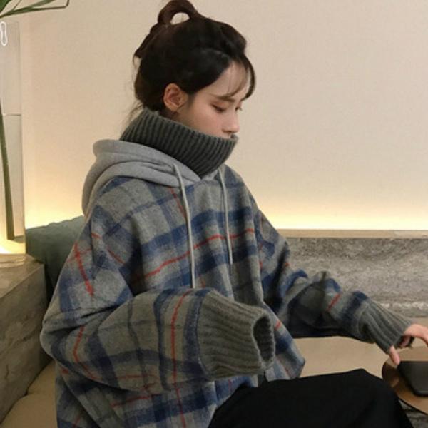 Hip-hop Style, korean hoodie, plaid, hooded