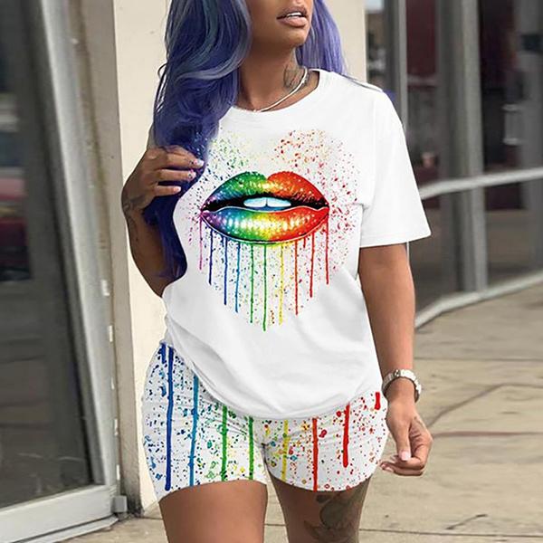 shortsset, Two-Piece Suits, Fashion Suits, printed shirts