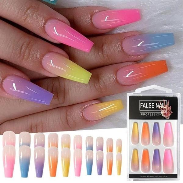 nail decoration, rainbow, art, nail tips