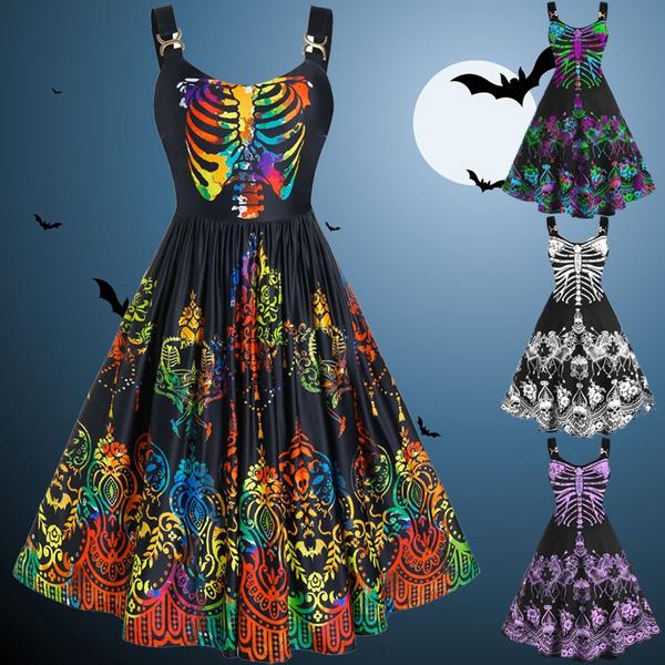 Plus Size, Skeleton, skullprint, Halloween Costume