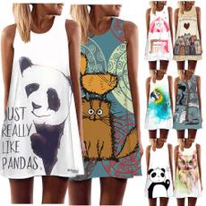 Mini, Summer, Shorts, Print Dresses