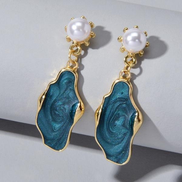 earringaccessory, greenenamelearring, Dangle Earring, Beautiful Earrings