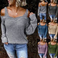 offshouldersweater, Moda, knitted sweater, pullover sweater