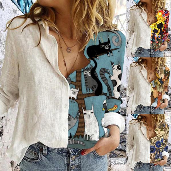 womencartoontop, Plus Size, Shirt, womenlapeltshirt