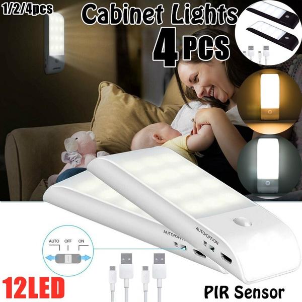 12LED Motion Sensor Lights PIR Wireless Night Light USB Cabinet Stair Lamp Light