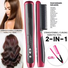 haircombstraightener, hairstraightenercurler, unisex, dualpurposehairstraightener