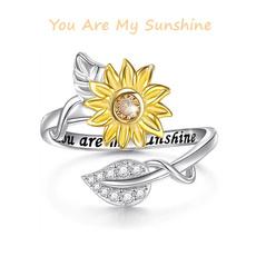 adjustablering, Flowers, wedding ring, 925 silver rings
