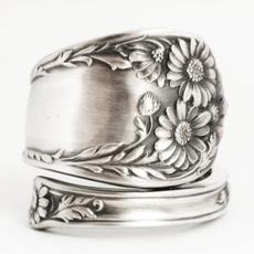 Sterling, adjustablering, Flowers, wedding ring