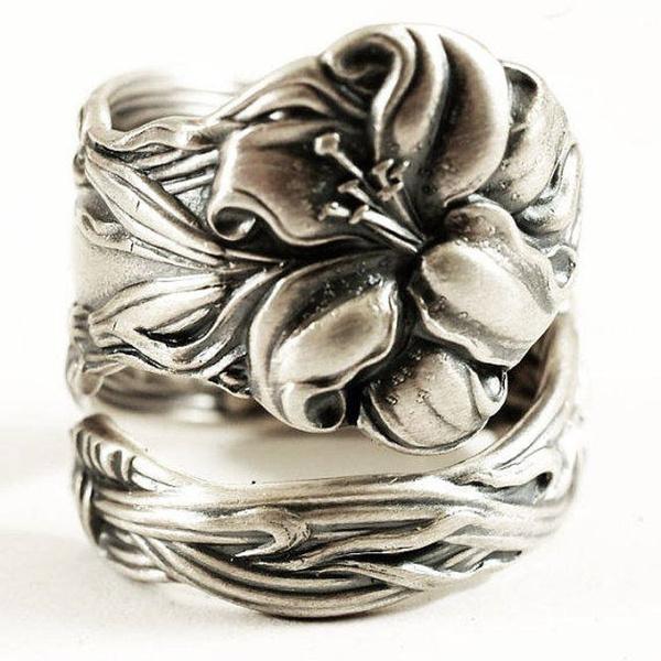 Sterling, silvertigerlilyring, wedding ring, Gifts