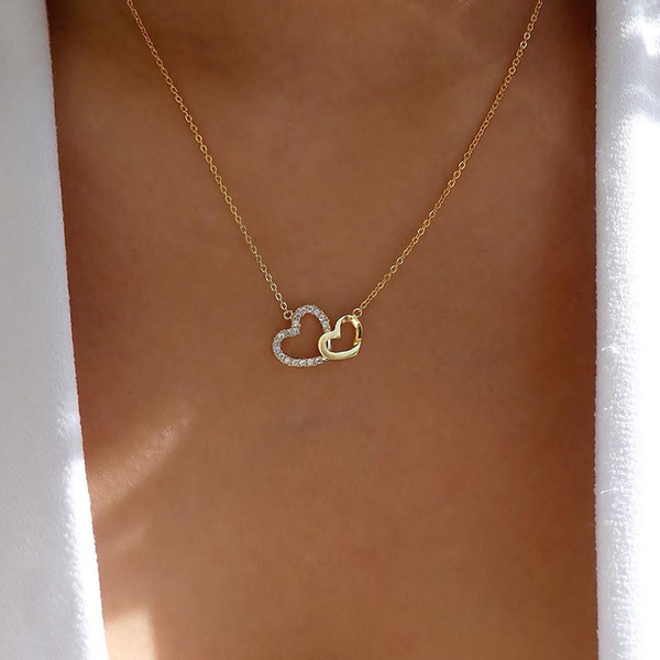 Heart, bridalnecklace, DIAMOND, gold