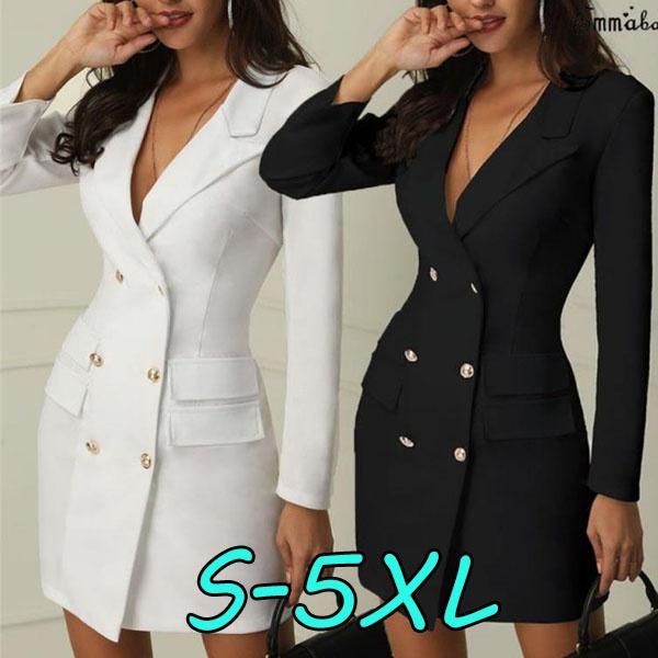 Fashion, short dress, Office, Long Sleeve
