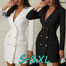 Moda, short dress, Office, Long Sleeve