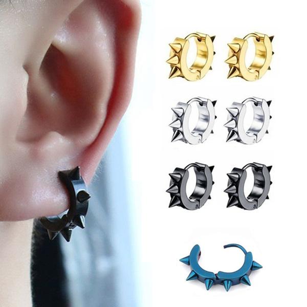 Mens Earrings, Punk jewelry, Goth, Hoop Earring
