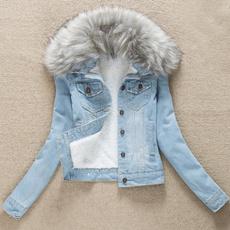 collar slim, Fashion, lineddenimjacket, fleecelinedjacket