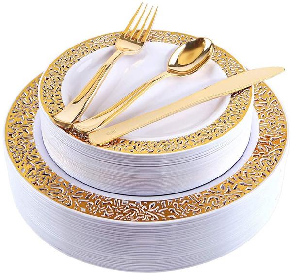 Jewelry, plastictablewareset, plasticgoldtableware, disposabletableware