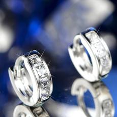 Sterling, White Gold, DIAMOND, stainless steel earrings