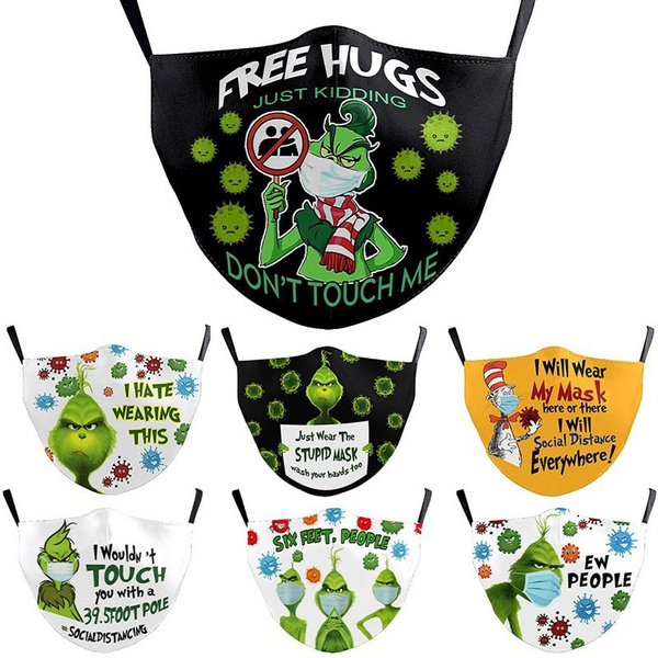 Funny, mouthmask, Christmas, grinch