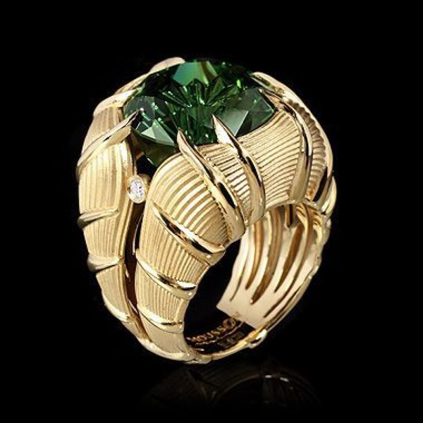 Fashion, emeraldring, 18k gold ring, Emerald
