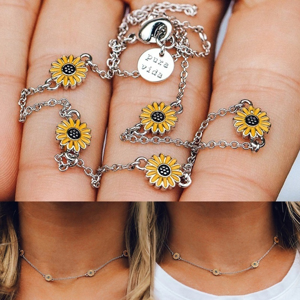 Fashion, Jewelry, Sunflowers, claviclenecklace