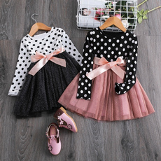 Fashion, Long Sleeve, Dress, girlsbowknotdres