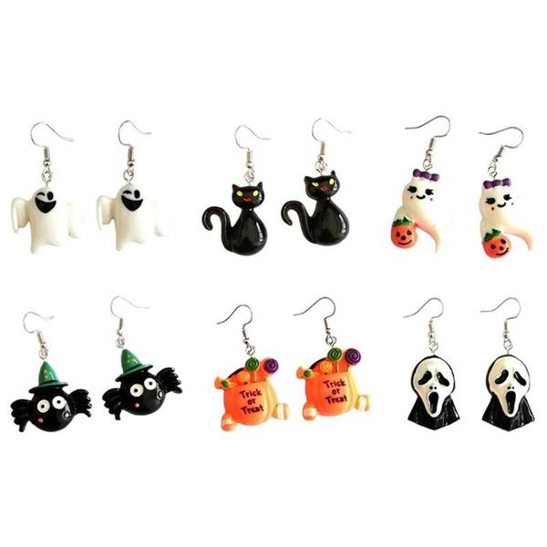 Halloween DIY Resin Earrings Retro Skull Ghost Cat Earrings Accessories F4J5