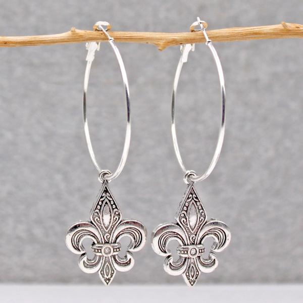 Plants, Hoop Earring, 925 sterling silver, Jewelry