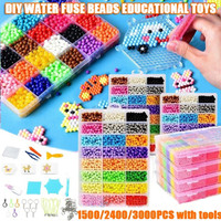 Airsnigi Water Fuse Beads Kit,24 Colors 3000 Beads Including 16 Accessories,Refill Compatible Beads,Magic Water Sticky Beads Art Crafts Toys for 4 6 8 9 10 12 Year Old Kids Beginners