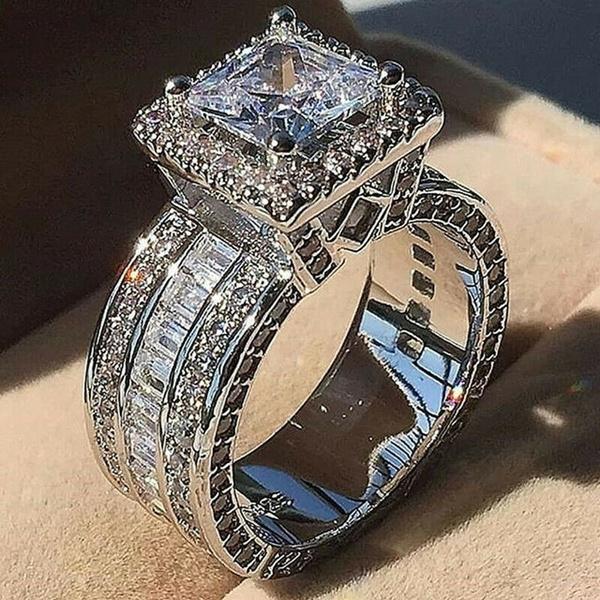 Sterling, DIAMOND, Princess, wedding ring
