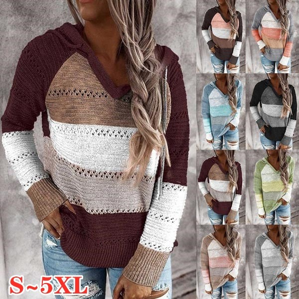 Plus Size, hooded, Sleeve, pullover sweater